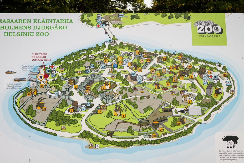 Карта зоопарка Коркеасаари