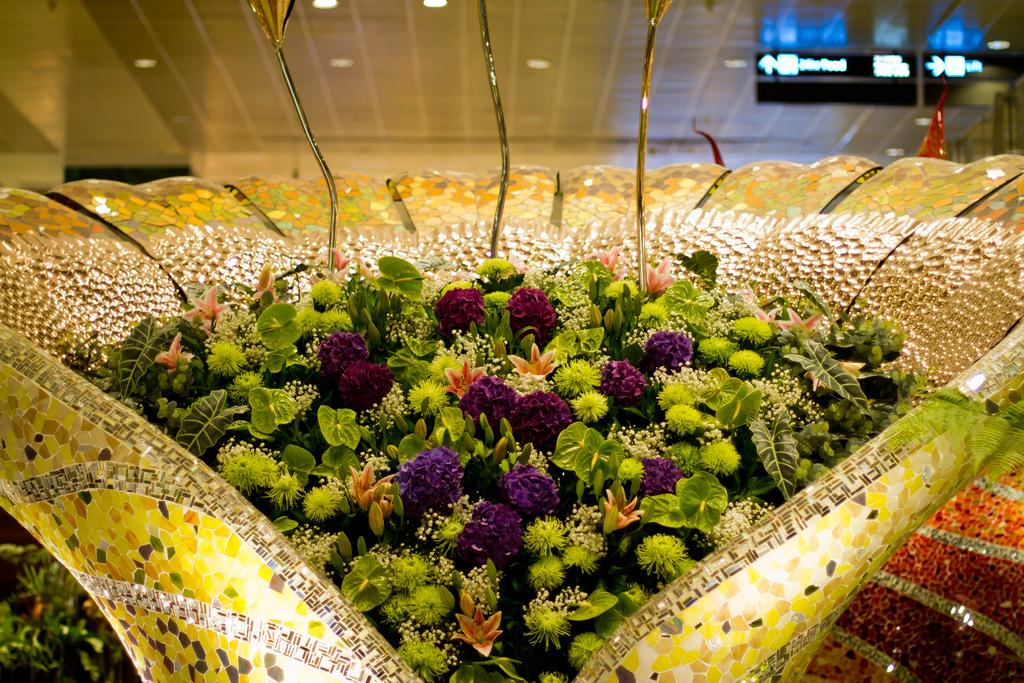 Цветы в аропорте Сингапура